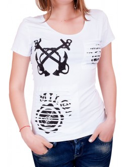 Бяла тениска с ефектен гръб