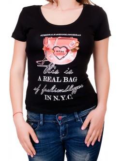 Черна дамска тениска с изрязан гръб