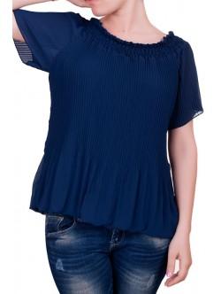 Плисирана блуза с къс ръкав