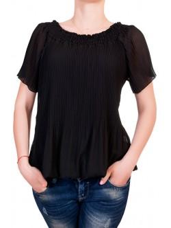 Черна плисирана блуза с къс ръкав