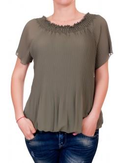 Дамска плисирана блуза с къс ръкав