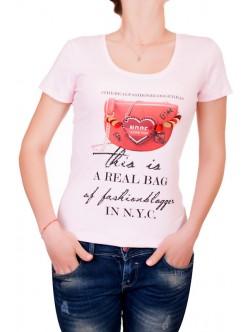 Розова тениска с изрязан гръб
