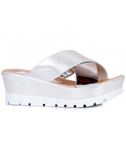 Сребристи високи чехли