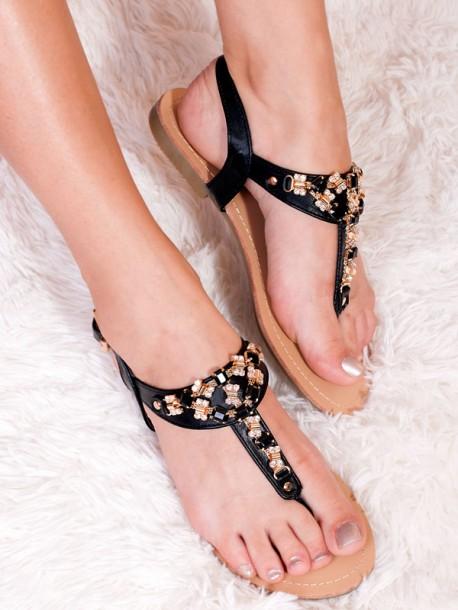 Ниски сандали с камъни