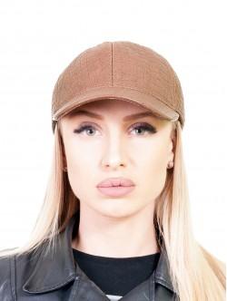 Светло кафява шапка с козирка за жени