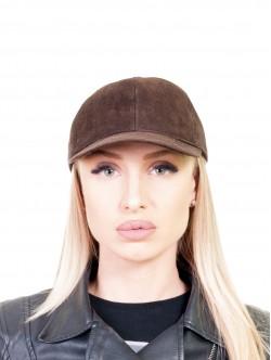 Дамска шапка с козирка от естествена кожа