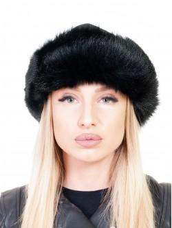 Кожена шапка с пух - черна