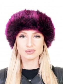 Кожена шапка с пух - бордо