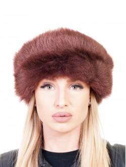 Кожена шапка с пух - кафява