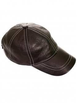 Кафява кожена шапка с козирка