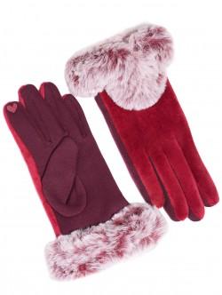 Дамски ръкавици с пух - червени