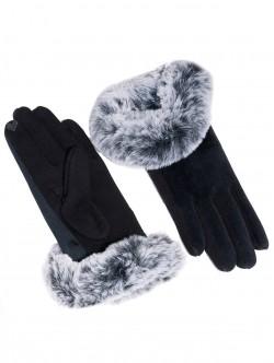Дамски ръкавици с пух - черни