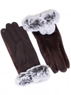 Дамски ръкавици с пух - кафяви