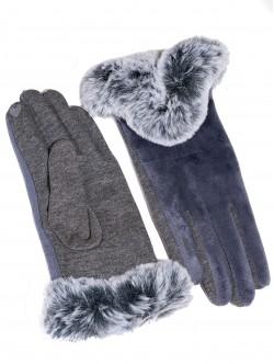 Дамски ръкавици с пух - сиви