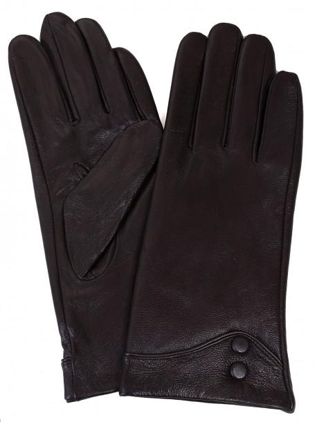 Ръкавици от естествена кожа - тъмно кафяви
