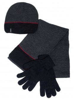 Шал, шапка и ръкавици за мъже - сини