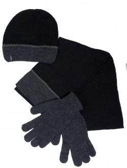 Шал, шапка и ръкавици за мъже - сиви