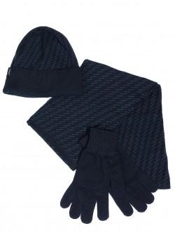 Мъжка шапка, шал и ръкавици - сини