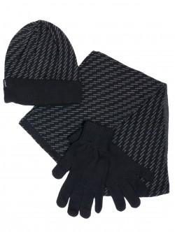 Мъжка шапка, шал и ръкавици - черни