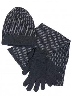 Мъжка шапка, шал и ръкавици - сиви