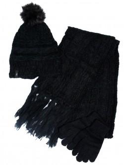 Комплект за дами шал, шапка и ръкавици - черни
