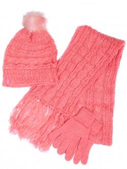 Шапка, шал и ръкавици комплект - розови