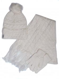 Шапка, шал и ръкавици комплект - бели
