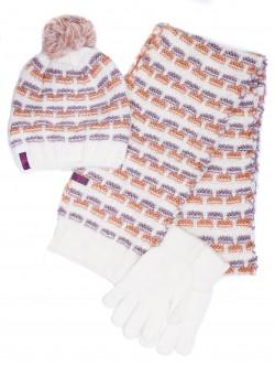 Шапка, шал и ръкавици за дами - бели