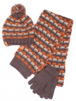 Шапка, шал и ръкавици за дами - черни