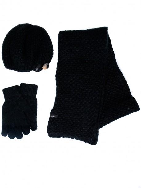 Дамска шапка, шал и ръкавици