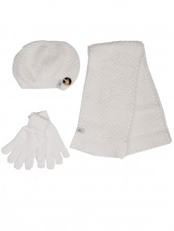 Дамска шапка, шал и ръкавици - бели