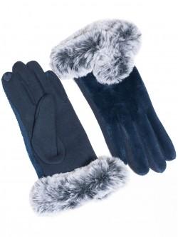 Дамски ръкавици с пух - сини