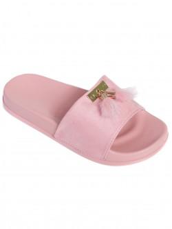 Дамски чехли с пухчета - пудра