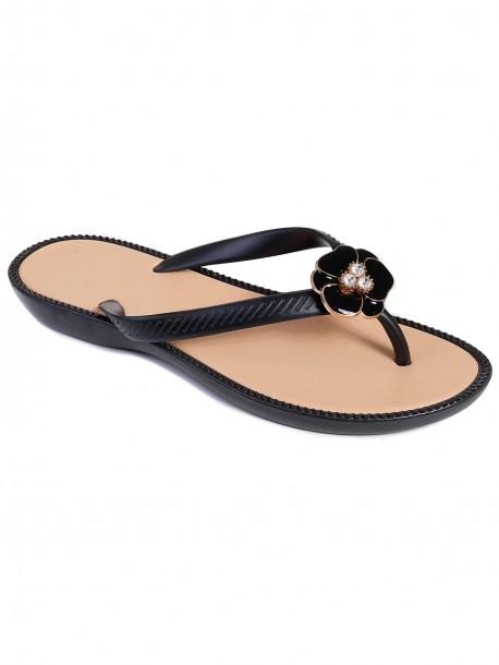 Дамски силиконови чехли - черни