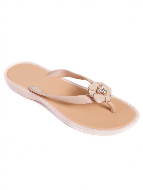 Дамски силиконови чехли - екрю