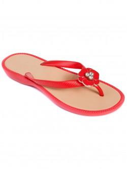 Дамски силиконови чехли - червени