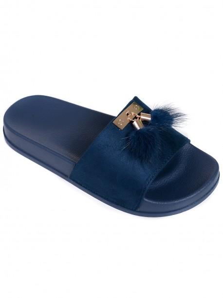 Дамски чехли с пухчета - сини