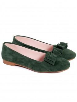 Пантофки с панделка - зелени