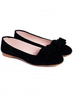 Пантофки с панделка - черни