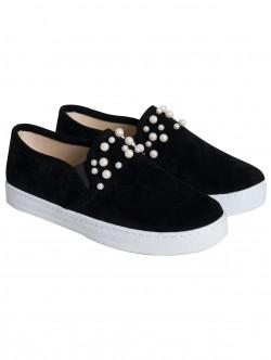 Ниски обувки с перли - черни