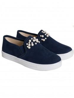 Ниски обувки с перли - сини