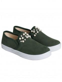 Ниски обувки с перли - зелени