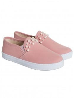Ниски обувки с перли - пудра