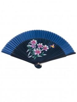 Луксозно дървено ветрило - синьо