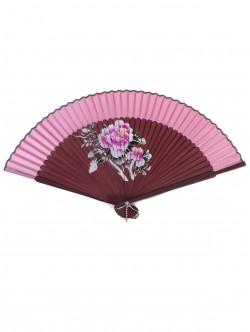 Луксозно дървено ветрило - розово