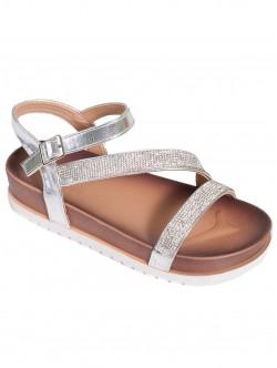 Дамски ежедневни сандали - сребристи