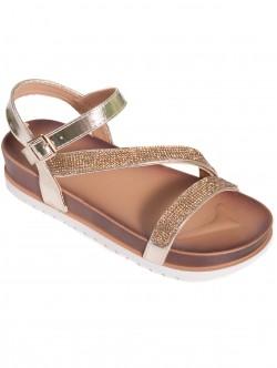 Дамски ежедневни сандали - златисти