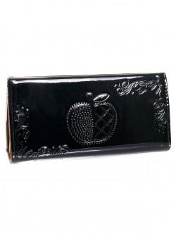 Черен лачен портфейл