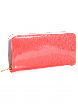 Дамски лачен портфейл - портокалов цвят