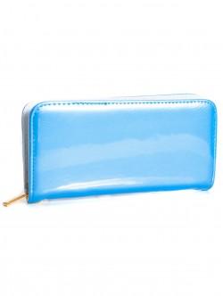 Дамски лачен портфейл - син
